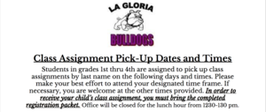 Class Assignment Pick-up Dates and Times