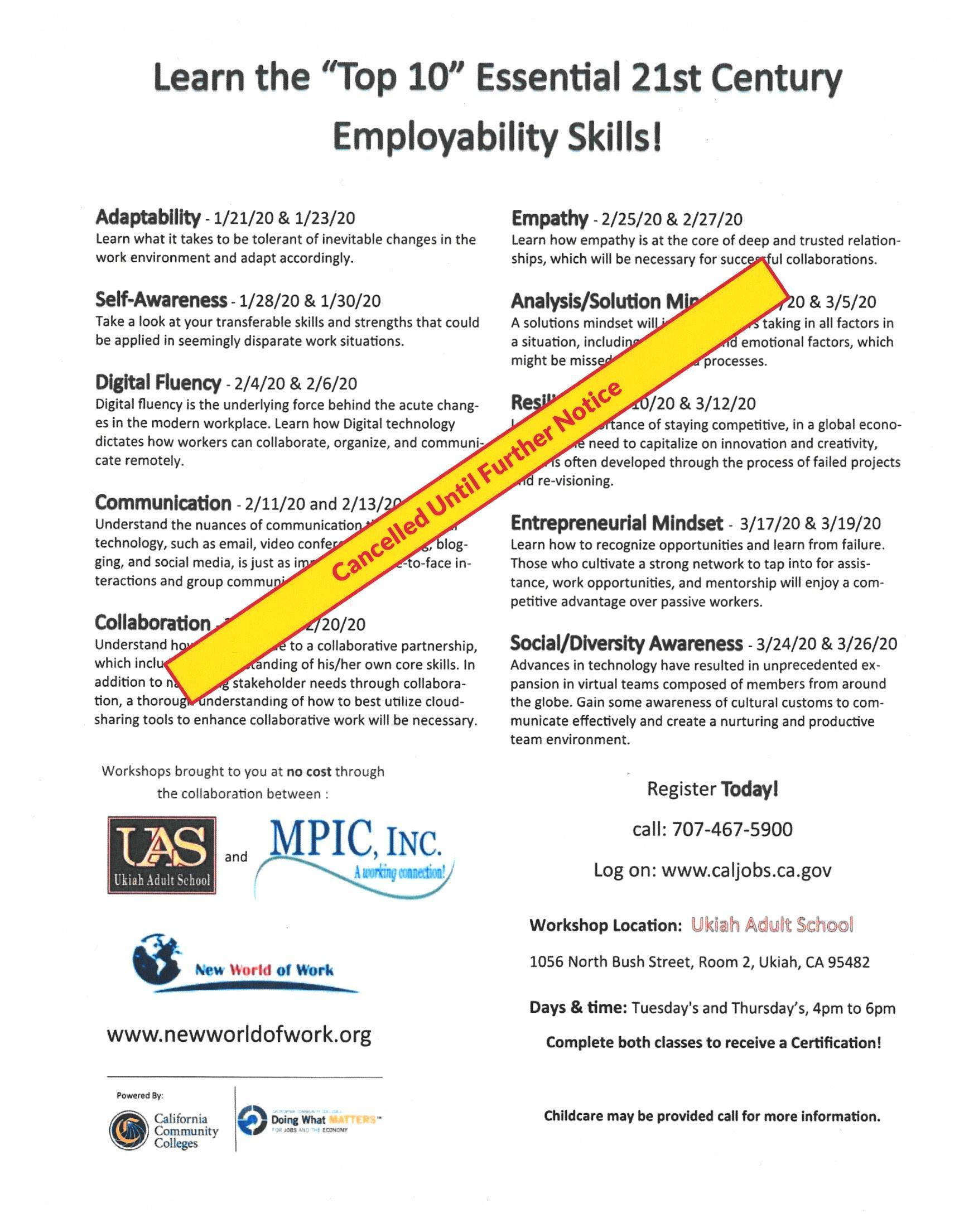 Employability Skills Workshop poster with Cancelled until further notice on it.