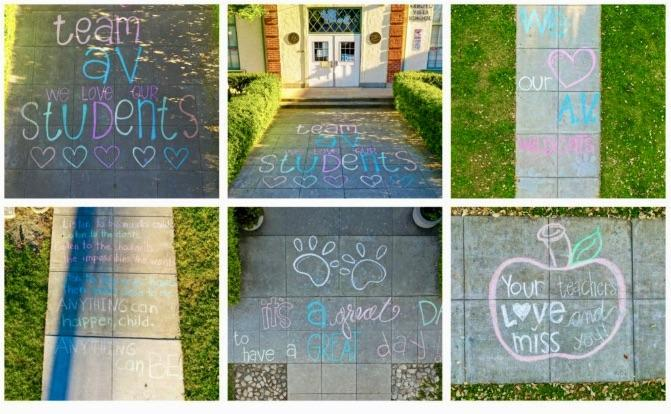 Sidewalk messages from teachers