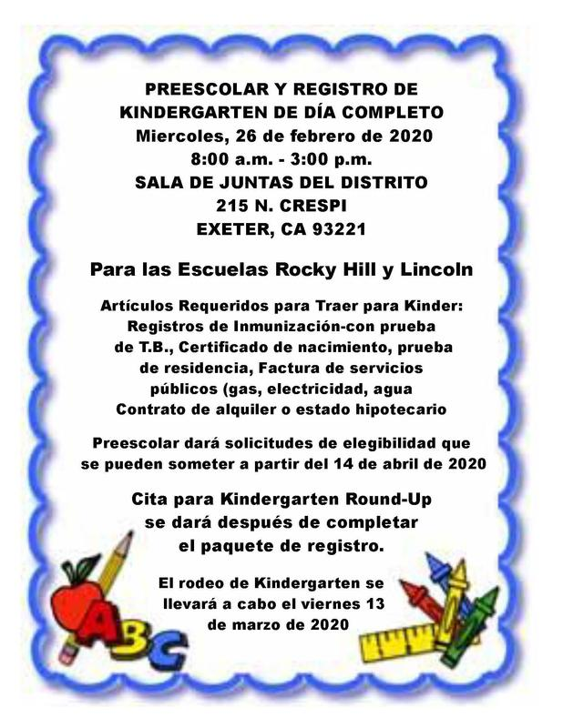 kindergarten registration flyer- spanish