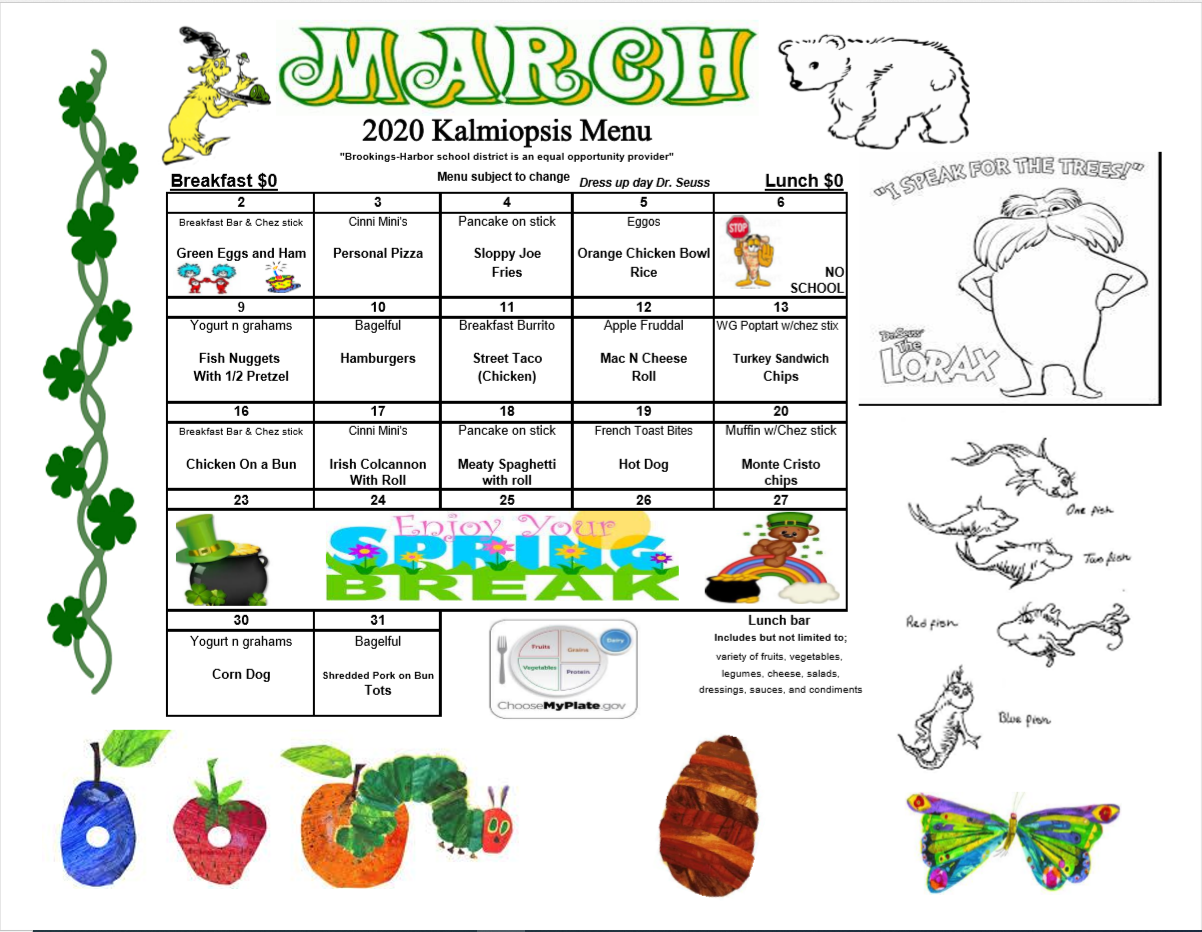 March 2020 Menu KS