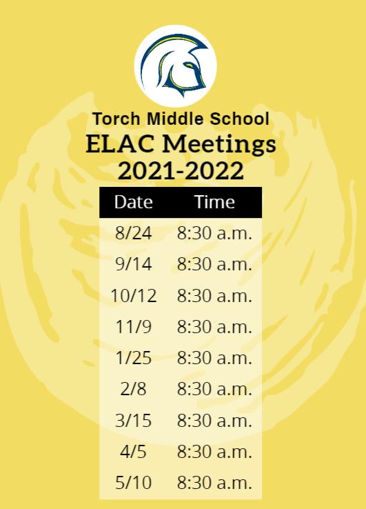 ELAC Schedule 2021-2022