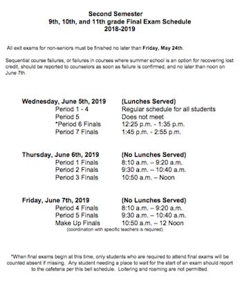 Second Semester Senior Final Exam Schedule 2018-2019 Featured Photo