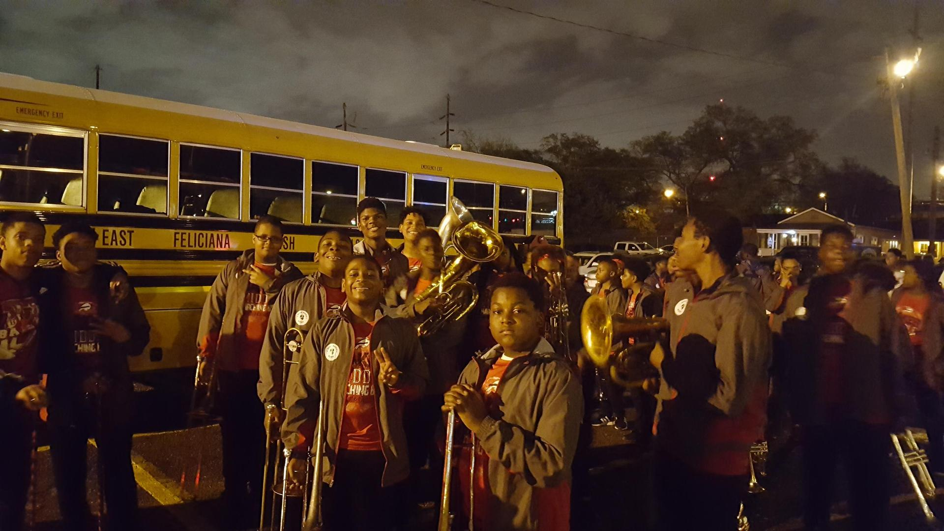 Baker Middle Band and Park Ridge Dancers at Krewe of Artemis and Krewe of Orion Parades