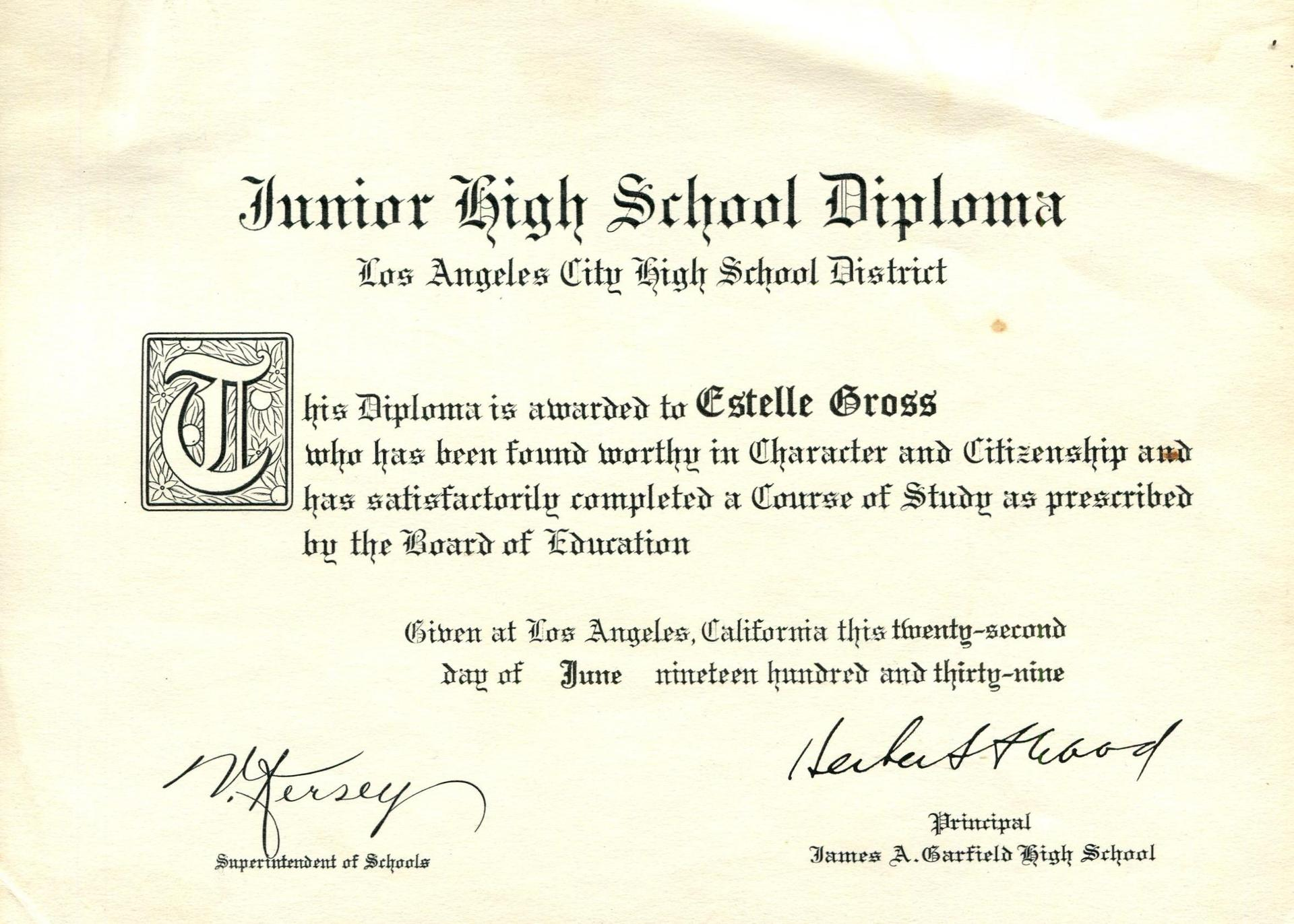 Diploma from Garfield Junior High