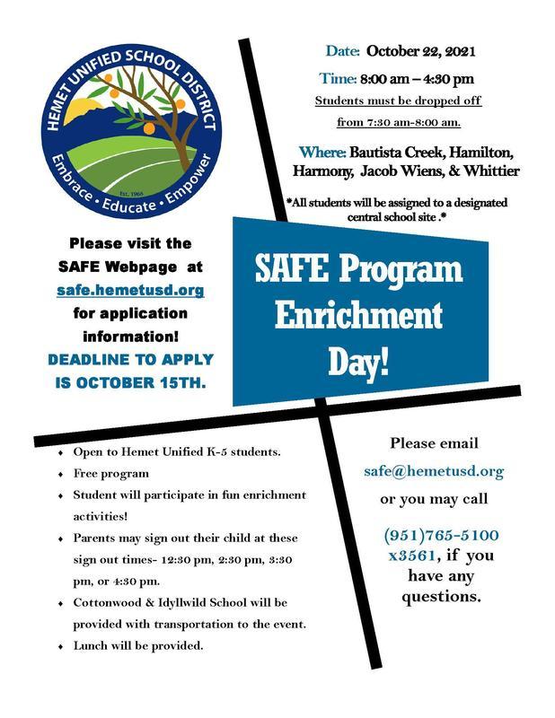 SAFE October 22 Enrichment Day