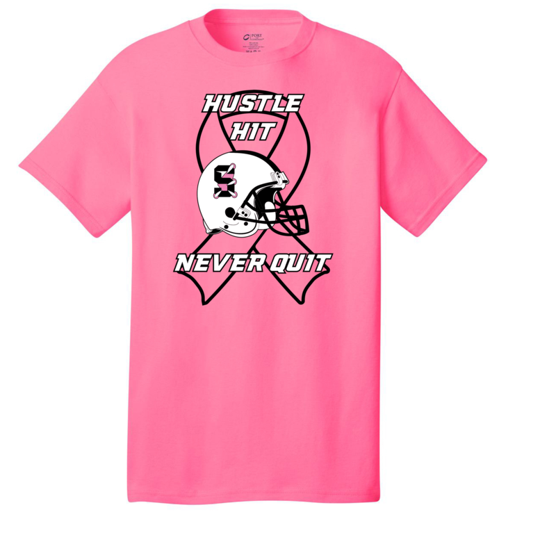 Pink T-shirt showing the Hustle, Hit, Never Quit logo with a football helmet with the Skyview logo overlaid on a ribbon image.