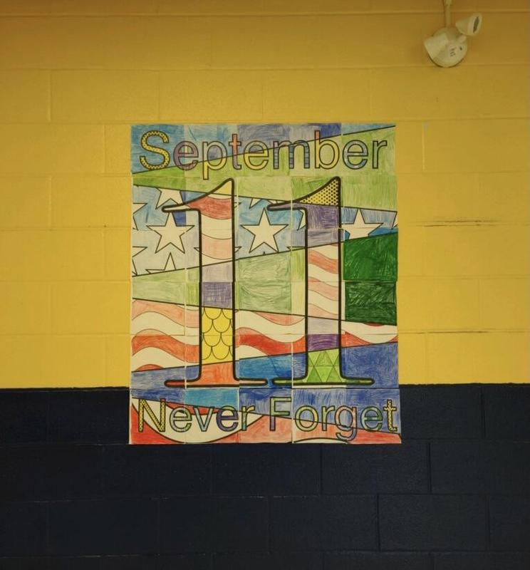 9/11 memorial mural created by fourth grade students at Lisbon Central School