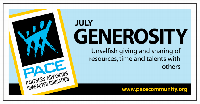 PACE Character Trait for July is GENEROSITY! Thumbnail Image