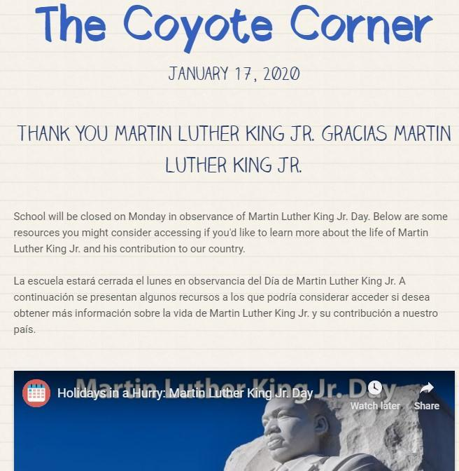 Screen shot of our January 17 newsletter