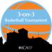 silhouette of the school with a basketball rising behind it. And 3 on 3 basketball tournament written in a band across the basketball