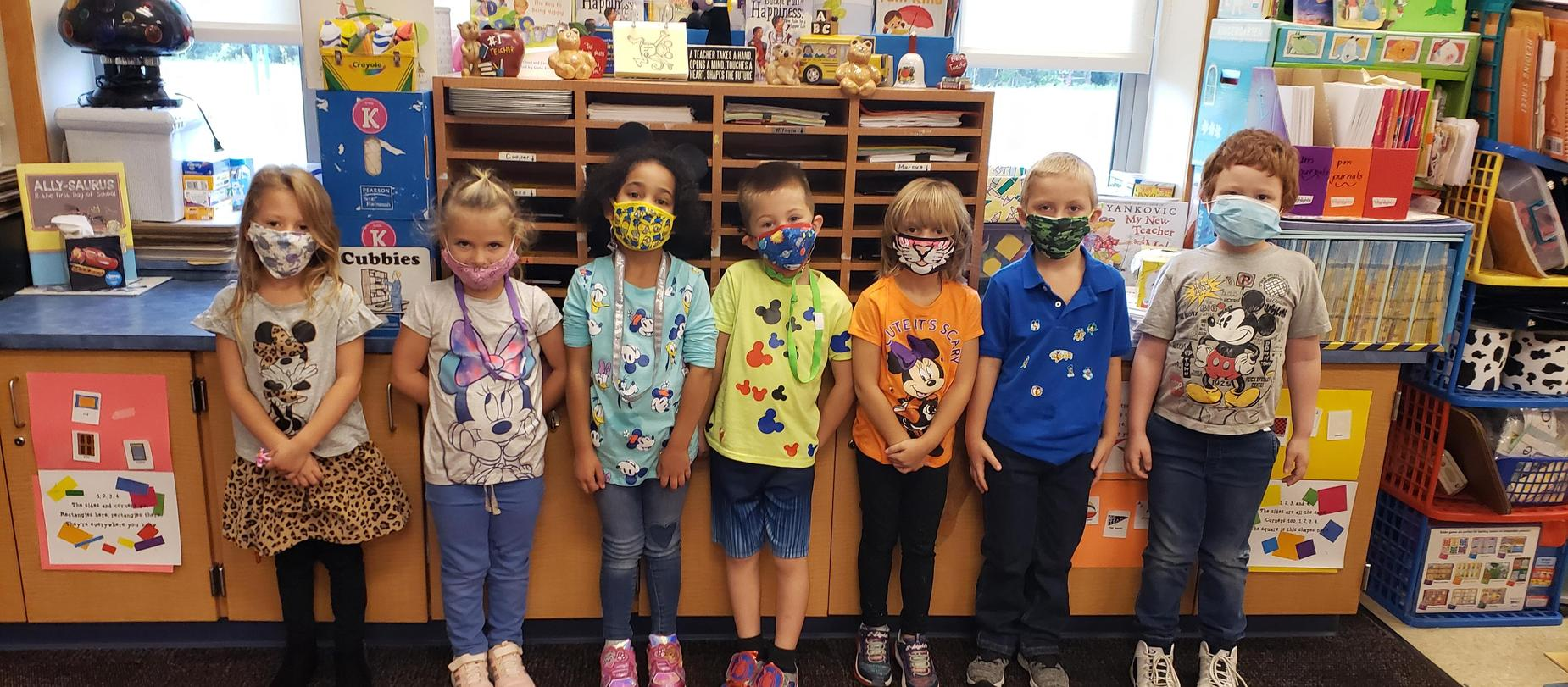 kindergarten students dressed in Mickey Mouse shirts