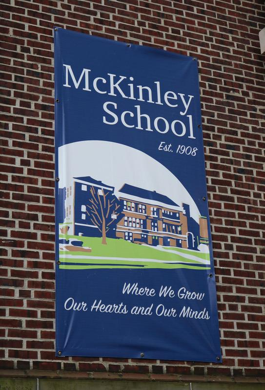 McKinley School sign offers encouraging words to students and staff.