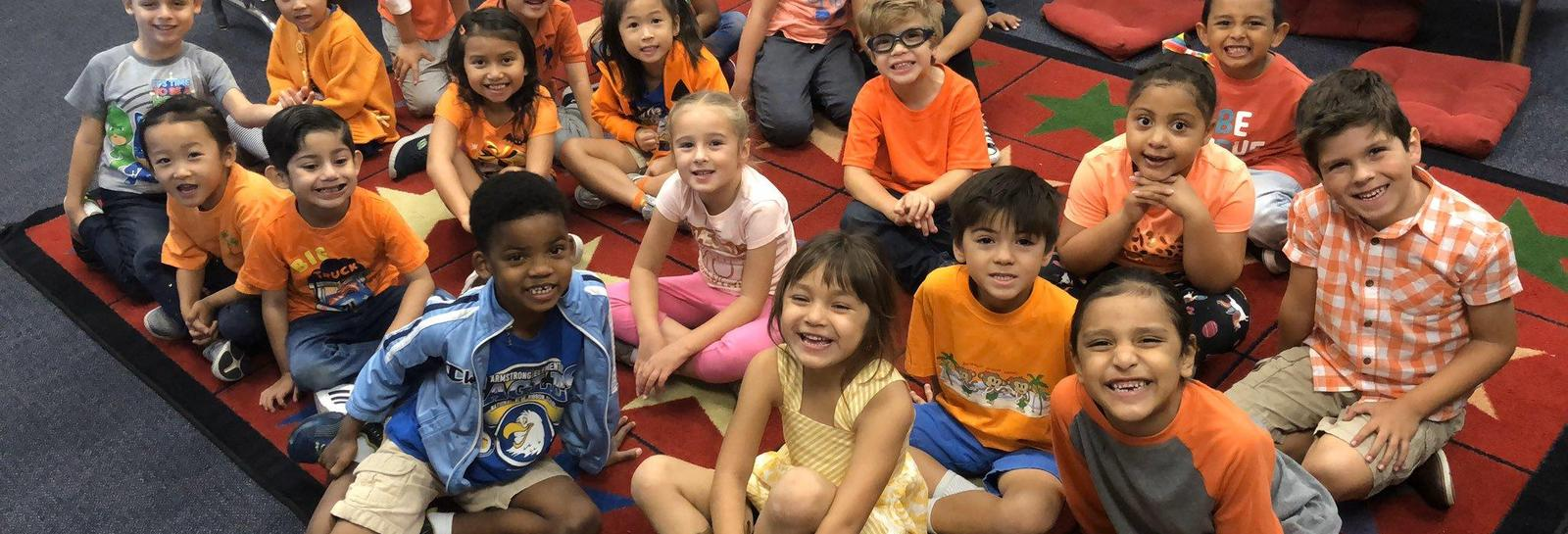 Kindergarten Students Support Bullying Awareness - Armstrong Elementary Kindergarten students wear orange to support bullying awareness! #proud2bepusd #ArmstrongElementary http://edl.io/n1109622