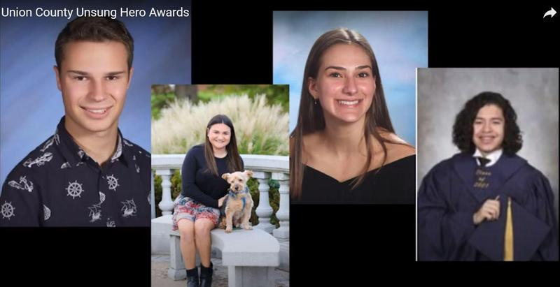 Screenshot of WHS 12th grader Amanda White and three other seniors who were recognized as Unsung Heroes by the UCSBA.