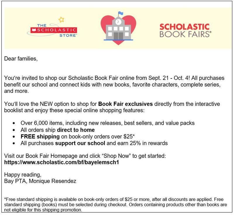 Bay PTA Online Scholastic Book Fair 9/21-10/4 Featured Photo