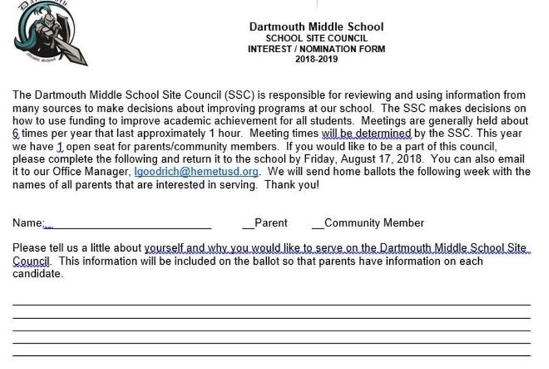 Dartmouth School Site Council Form