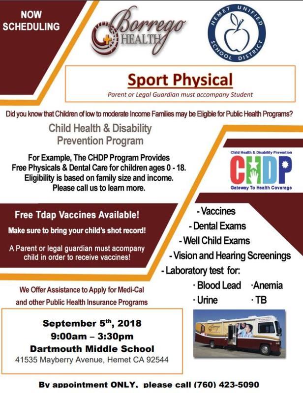 Borrego Health Sports Physical Information