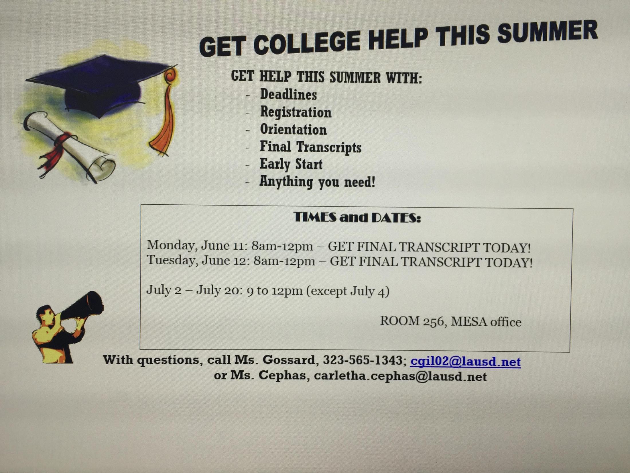 Get College Help Summer 2018 Get College Help Summer 2018 John C