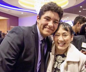 SPHS Senior Andres Oyaga and Counselor Tracy Ishimaru