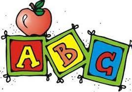 Three Block in red, yellow, and blue with the letter ABC with an red apple on top of the first block.