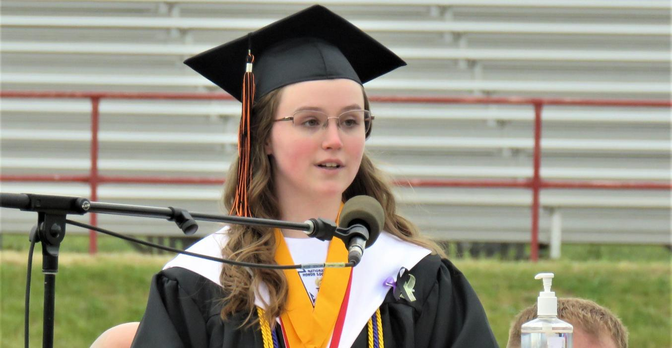 TKHS Senior Megan Chinavare addresses the Class of 2021.