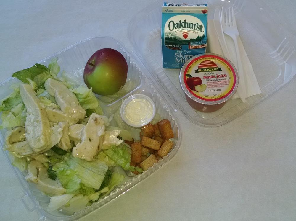 Grab & Go Chicken Ceasar Salad, Apple, 100% Juice and Milk