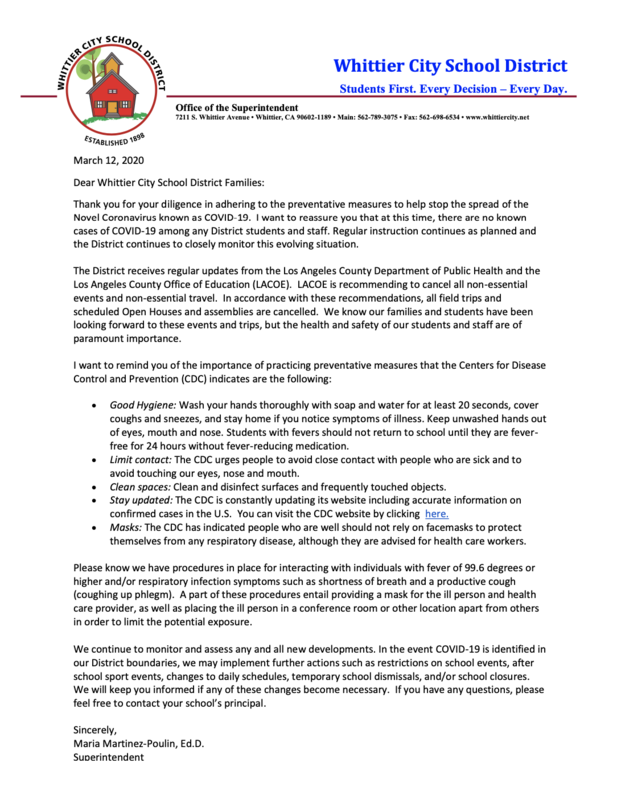 Updated Coronavirus Letter