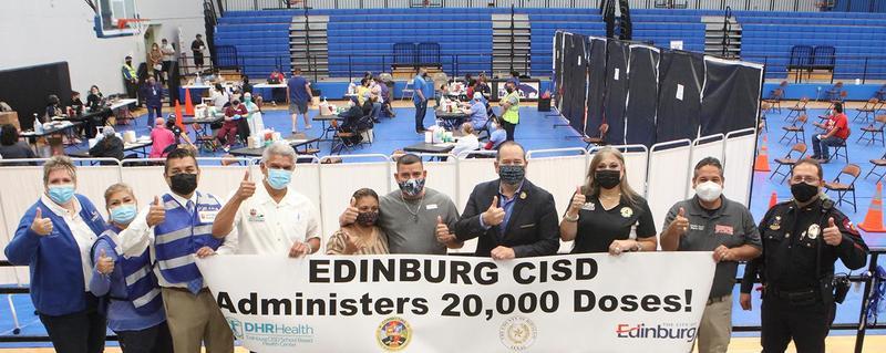 Edinburg CISD administers over 20,000 doses at its COVID-19 Community Vaccine Clinic on April 16 at Vela High School in Edinburg.