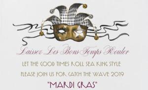 Catch the Wave 2019 Mardi Gras invitation and jester logo
