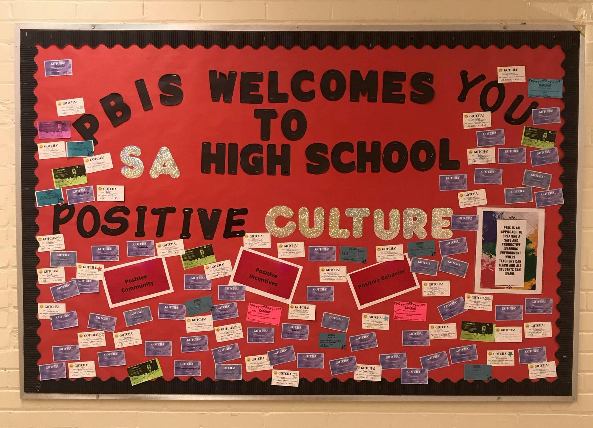 A hallway bulletin board at Southbridge Academy promoting positive school culture
