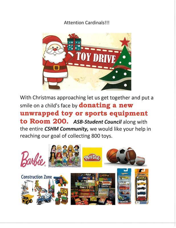 Annual CSHM Toy Drive! Thumbnail Image