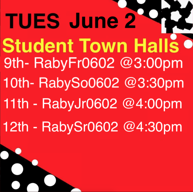 RABY Student Town Halls: TUES JUNE-2 Featured Photo