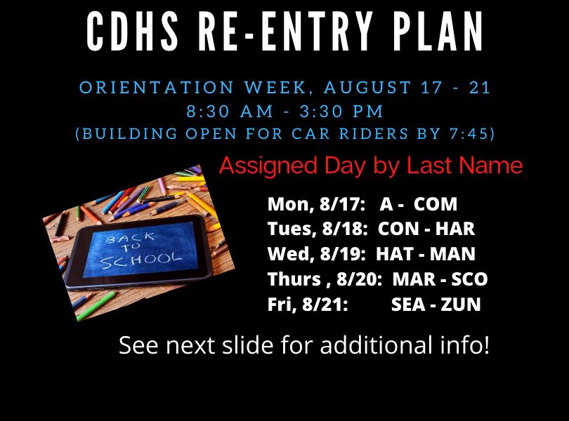 CDHS Re-entry Plan, Orientation Days: 8/17 A-COM, 8/18 CON-HAR, 8/19 HAT-MAN, 8/20 MAR-SCO, 8/21 SEA-ZUN