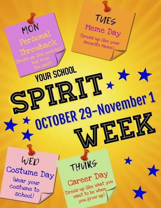 School Spirit Week flyer