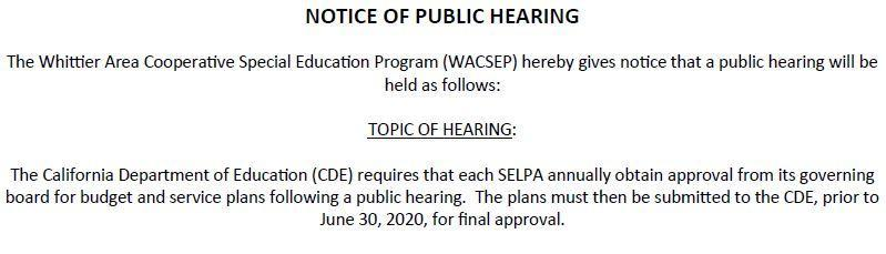 Screenshot of WACSEP's public hearing announcement