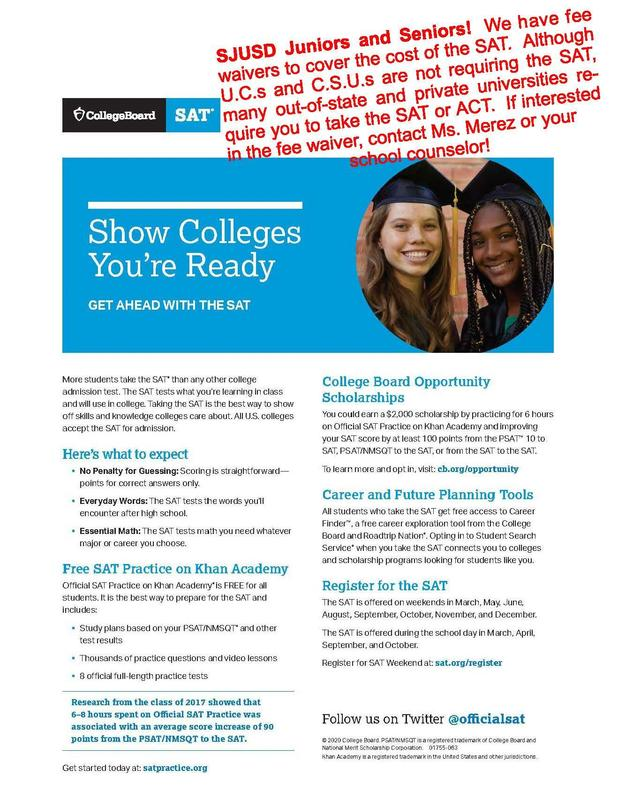 CollegeBoard SAT flyer