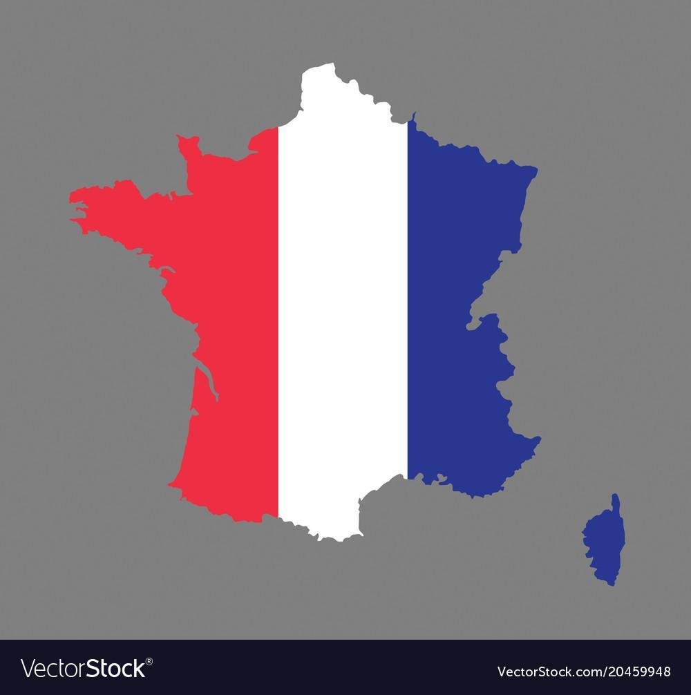 Map of France with an overlay of the French flag