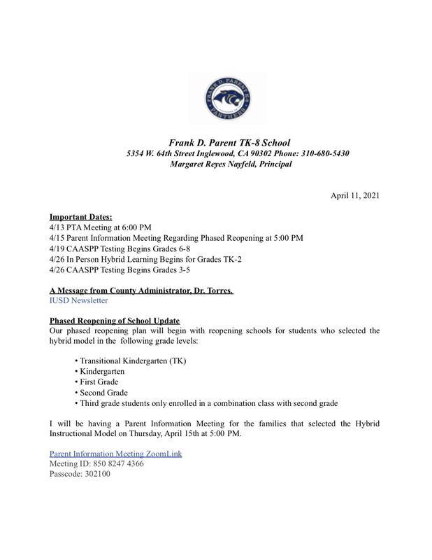 FDP Weekly Update 4/11/21