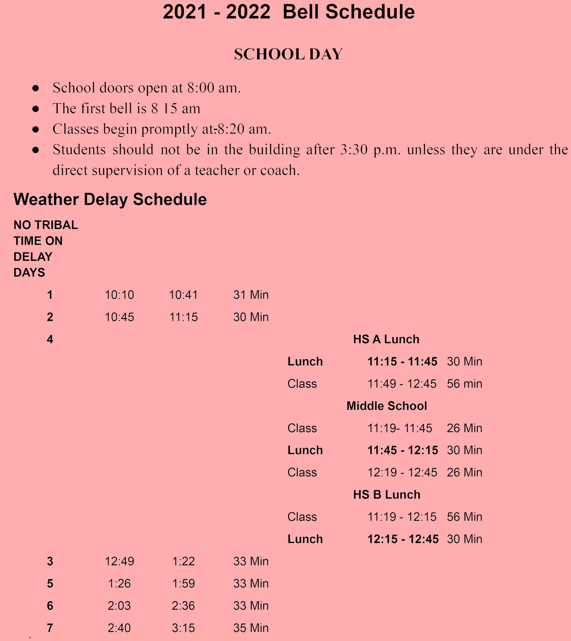 UCJSHS Weather Delay Bell Schedule