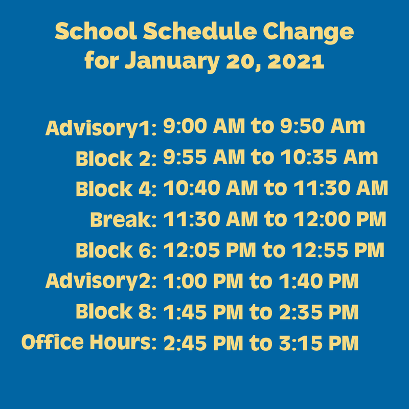 Special Bell Schedule for Wednesday, January 20, 2021 Thumbnail Image