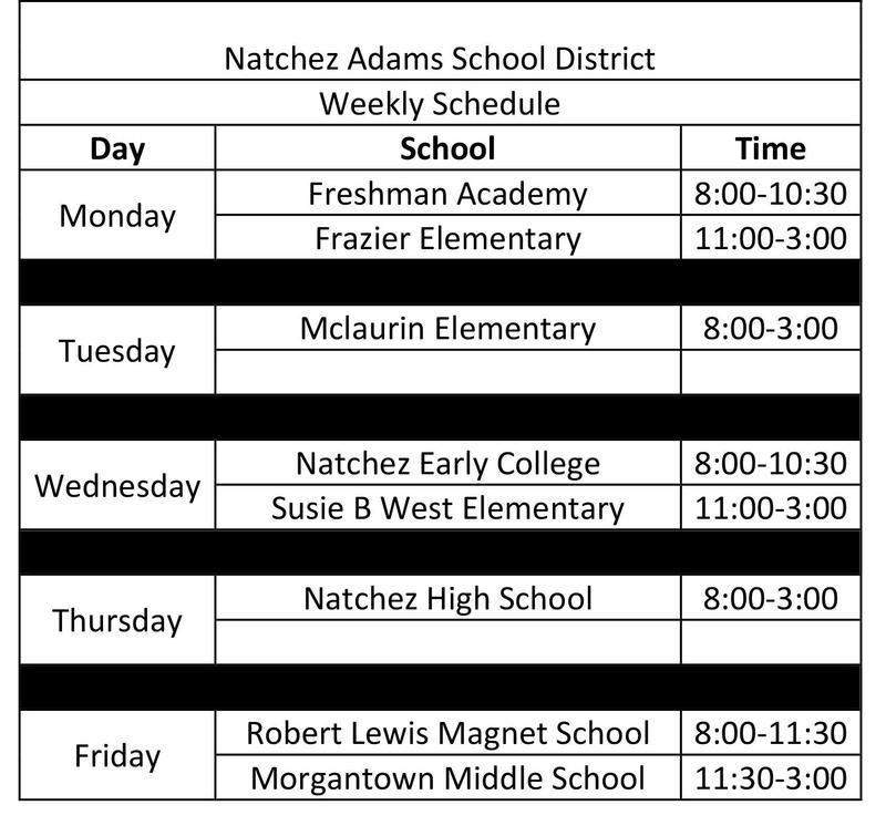 NASD COVID-19 Screen Schedule