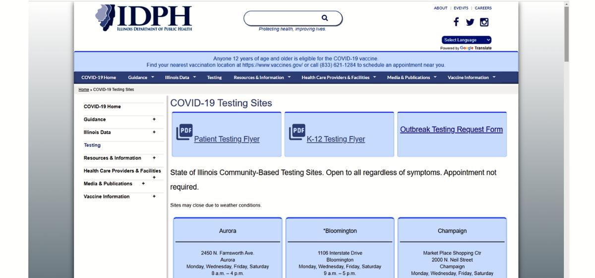 IDPH Testing Sites webpage