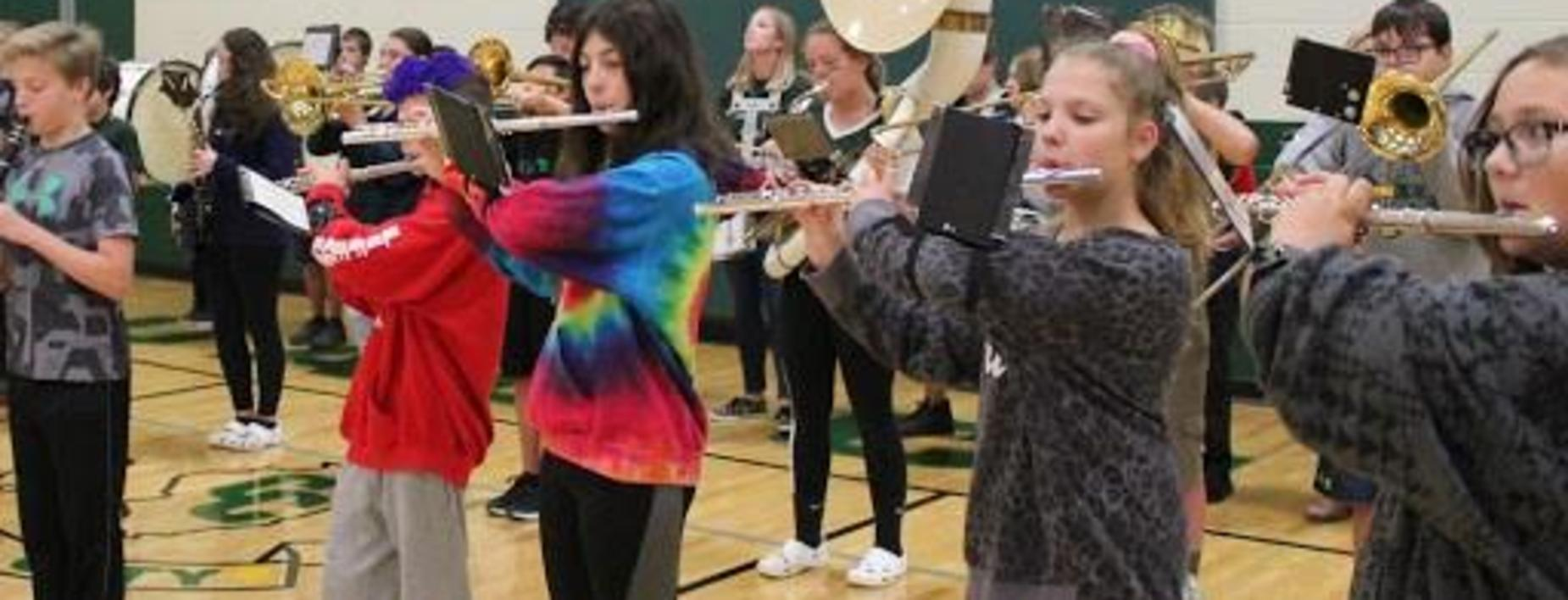 Band at the pep assembly CCMS