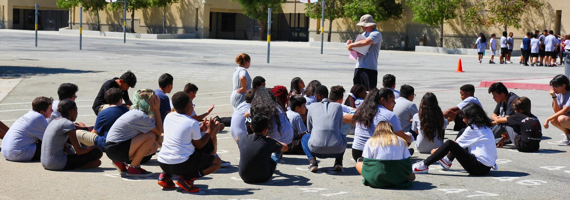 Students attending P.E. class