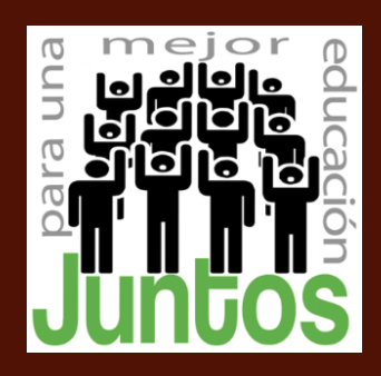 Juntos logo - stick figures with one hand in the air