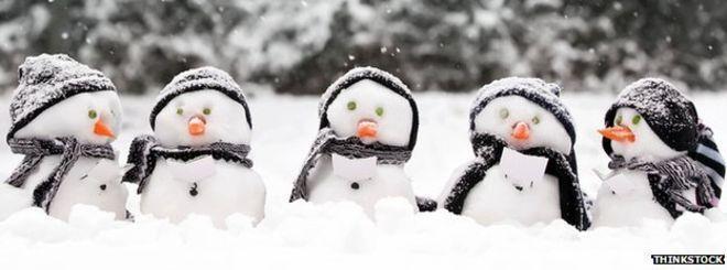 Winter scene with puppet birds