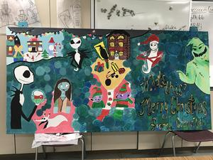 christmas themed mural