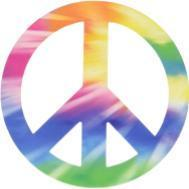 Picture of the peace symbol with rainbow colors