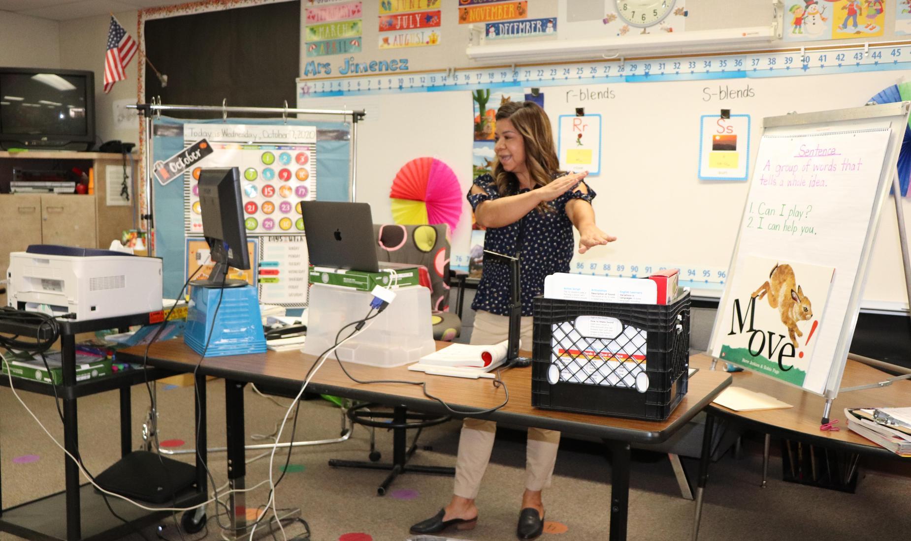 Polk teacher conducting distance learning